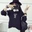 เสื้อแฟชั่น คอกลม แขนยาว บุกันหนาว ลายน้องหมี สีดำ