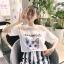 เสื้อแฟชั่น คอกลม แขนสั้น แต่งผ้าตาข่าย ลายแมว สีขาว