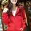 เสื้อคลุม ผ้าฝ้าย บุกันหนาว มีฮูด แขนยาว ลายหนวด สีแดง thumbnail 1