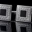 I1301 CUFF LINKS สี่เหลี่ยมดำขอบเงิน + ขอบเงินลายเส้นเขาวงกต thumbnail 1
