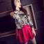กางเกงแฟชั่น ผ้าหนังเทียม ขาสั้น +เข็มขัด สีแดง thumbnail 1