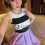 (SALE) เดรสผ้าฝ้ายผสม บนลายขวาง กระโปรงสีม่วง thumbnail 1