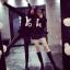 เสื้อคู่ คอกลม แขนยาว ลาย YOU + ME สีดำ (2ตัว)
