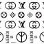 YM-K071 สติ๊กเกอร์สักแฟชั่น sticker tattoo ลายLV 15.5x10.8 cm thumbnail 2