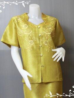 ชุดผ้าไหมญี่ปุ่น (เสื้อ+กระโปรง) รอบอก48 D014