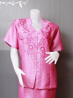 ชุดผ้าไหมญี่ปุ่น (เสื้อ+กระโปรง) รอบอก48 D012