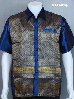 เสื้อผ้าไหมเทียมทอลาย MS03