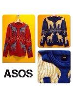 Asos sweater เสื้อกันหนาวไหมพรมจาก asos ลายม้าลาย สีน้ำเงิน ฟรีไซส