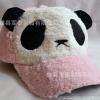 หมวกหมีแพนด้าขนปุย สีชมพูอ่อน