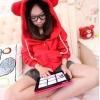 (ภาพจริง) เสื้อกันหนาว มีฮูด มีหู สีแดง