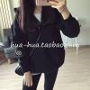 (ภาพจริง)เสื้อคลุม แขนยาว ผ้าฝ้าย บุกันหนาว มีฮูด ซิบหน้า ปักลายทาสมาเนี่ยน สีดำ