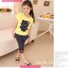 ชุดเด็ก เสื้อสีเหลืองกางเกงสีดำ มีขนาด 100-140
