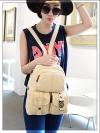 [สีขาว] กระเป๋าเป้สะพายหลัง Backpack แฟชั่นเกาหลีทั้งผู้ชายและผู้หญิง
