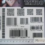 YM-K001 สติ๊กเกอร์สักแฟชั่น sticker tattoo ลายบาร์โค๊ต 15.5x10.8 cm