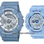 นาฬิกา คาสิโอ Casio G-Shock SETคู่รัก Denim Color รุ่น GA-110DC-2A7 x BA-110DC-2A3 Pair set ของแท้ รับประกัน 1 ปี