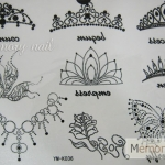 YM-K036 สติ๊กเกอร์สักแฟชั่น sticker tattoo ลายมงกุฎจุด 15.5x10.8 cm