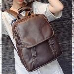 [สีน้ำตาล] กระเป๋าเป้สะพายหลัง Backpack แฟชั่นเกาหลีทั้งผู้ชายและผู้หญิง