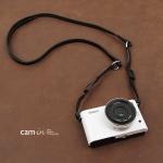 สายคล้องกล้องหนังแท้ cam-in Ultra slim สีดำ มีที่เปลี่ยนสาย