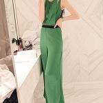 พร้อมส่ง จั๊มสูท ขายาว สีเขียว (JJ-fashion) ยาวทั้งชุด 144 ซม.  กางเกงยาว 100 ซม.  อก 35 นิ้ว  เอว 30 นิ้ว  สะโพก 41นิ้ว