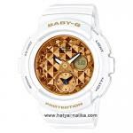 นาฬิกา Casio Baby-G BGA-195M Metal Dial series รุ่น BGA-195M-7A ขาว-ทอง ของแท้ รับประกัน1ปี