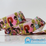 ริบบิ้นผ้า พิมพิ์ลายรวมเจ้าหญิงดิสนีย์ Disney Princess ขนาด 22 มิล