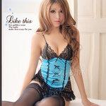 san468 ชุดนอนเซ็กซี่ ชุดนอนไม่ได้นอน แนว รัดทรง corset สีฟ้า ดำ แต่งโบว์ น่ารัก พร้อมถุงน่องเซ็กซี่