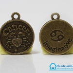 จี้โลหะ สีทองรมดำ ราศีกรกฎ (Cancer Zodiac) [เล็ก]