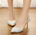 พรีออเดอร์ รองเท้าคัทชู/ส้นสูง สีเงิน มีไซด์ 35-39