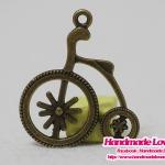 จี้โลหะ,ตัวห้อยซิป จักรยานโบราณ สีทองรมดำ