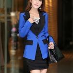 พรีออเดอร์ เสื้อสูท/blazer สีน้ำเงิน มีไซด์ S/M/L/XL