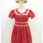 เดรส ผ้าแคนวาส พิมพ์ลาย Polka Dot สีแดง อก 46-50 นิ้ว