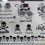 YM-K028 สติ๊กเกอร์สักแฟชั่น sticker tattoo ลายกระโหลก 15.5x10.8 cm