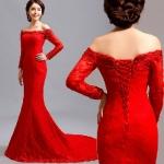 พรีออเดอร์ ชุดแต่งงาน/เดรสออกงาน/เดรสราตรี/ชุดเพื่อนเจ้าสาว สีแดง มีไซด์ S/M/L/XL/XXL