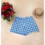 กางเกงขาสั้น ผ้าแคนวาส ลายชิโนริ สีฟ้า เอว 36-46 นิ้ว