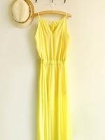 จั๊มสูทขายาว ผ้าชีฟอง สายเดี่ยว สีเหลือง