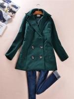 เสื้อโค้ทตัวสั้น แขนยาว ผ้าสำลีหนา สีเขียว
