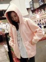 เสื้อคลุมแฟชั่น มีฮูด แขนยาว ซิปหน้า ลาย Quality สีชมพู