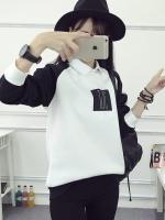 (ภาพจริง) เสื้อแฟชั่น คอกลม แขนยาว บุกันหนาว ลาย TJC สีขาว