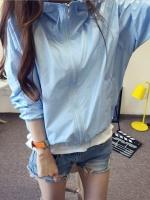 เสื้อคลุม แขนยาวผ้าร่ม มีฮูด ซิปหน้า สีฟ้า