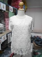 เสื้อแฟชั่น คอกลม แขนสั้น ผ้าชีฟอง+ลูกไม้ สีขาว