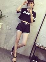 ชุดเซต 2 ชิ้น เสื้อแฟชั่นลาย sport +กางเกงขาสั้น สีดำ