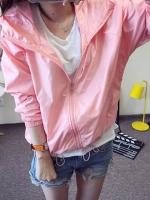 เสื้อคลุม แขนยาวผ้าร่ม มีฮูด ซิปหน้า สีชมพู