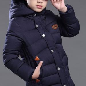C110-56 เสื้อโค้ทกันหนาวเด็กโต สี navy มีฮูท ผ้านวมบุซับใน ซิปหน้าซ่อน นุ่มมาก สวย อุ่นสบาย size 150-160