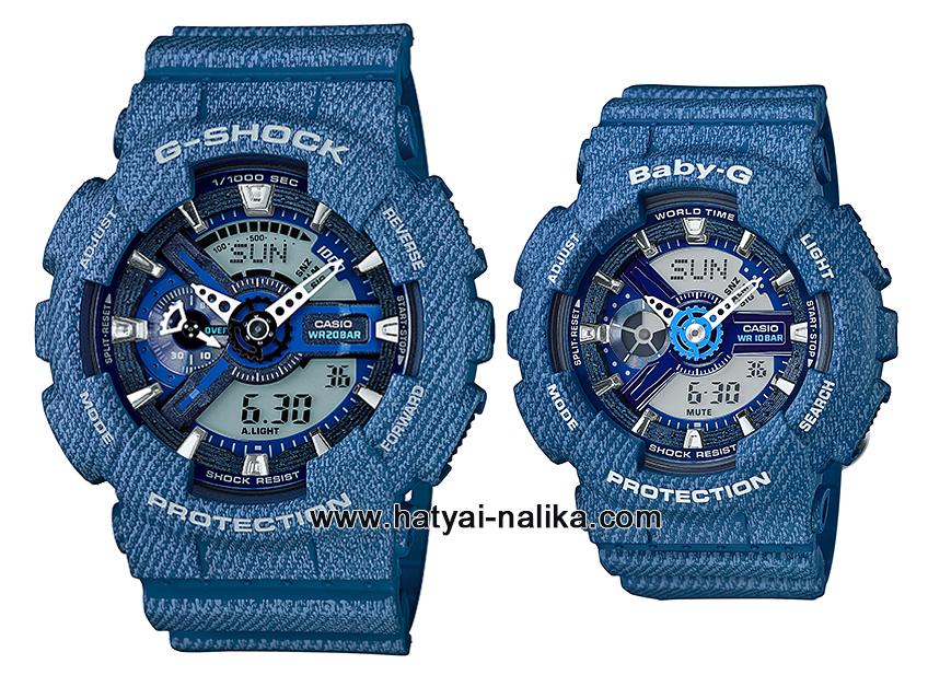 นาฬิกา คาสิโอ Casio G-Shock SETคู่รัก Denim Color รุ่น GA-110DC-2A x BA-110DC-2A2 Pair set ของแท้ รับประกัน 1 ปี
