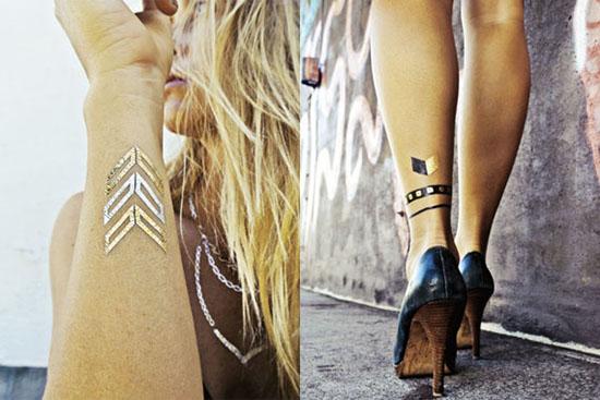 Flash Tattoo สติ๊กเกอร์แทททู สีทอง เมทัลลิค