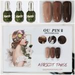 สีเจลทาเล็บ OU PIN ชุด3สี ชื่อโทนสี APRICOT TANSE พร้อมกรอบรูป เนื้อสีดี เข้มข้น คุณภาพเหนือราคา