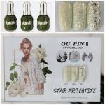 สีเจลทาเล็บ OU PIN ชุด3สี ชื่อโทนสี STAR ARGENTITE พร้อมกรอบรูป เนื้อสีดี เข้มข้น คุณภาพเหนือราคา