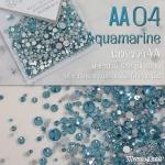 เพชรชวาAA สีฟ้า Aquamarine รหัส AA-04 คละขนาด ss3 ถึง ss30 ปริมาณประมาณ 1300-1500เม็ด