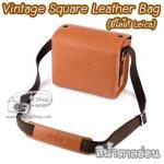 กระเป๋ากล้องเล็ก Mirrorless - Vintage Square Leather Bag มีโลโก้ Leica สีน้ำตาลอ่อน