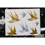 G-023 สติ๊กเกอร์ แทททู สีทอง Flash Tattoos sticker ลายนก